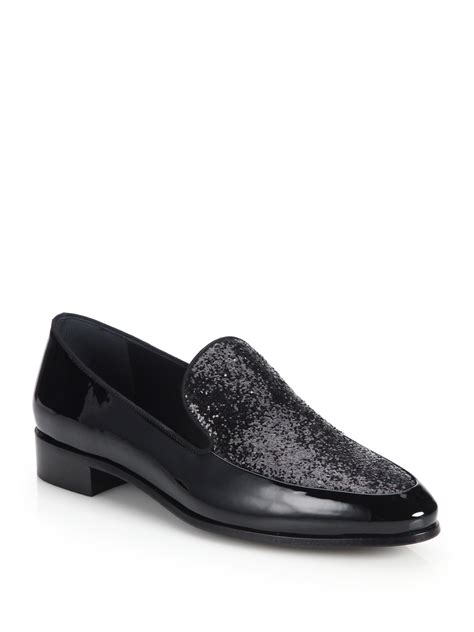 prada patent leather loafers prada glitter patent leather loafers in black lyst