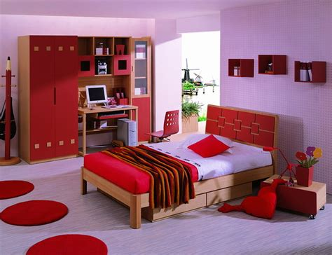 purple theme bedroom purple wall theme and brown wooden bed on purple floor connected by red wooden shelves