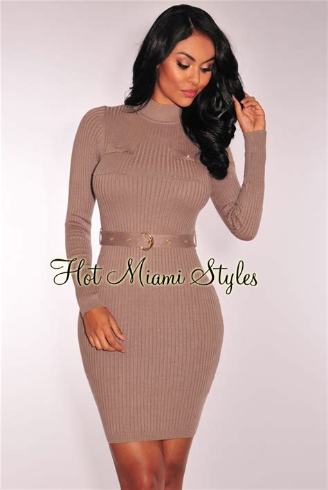 Sleeve Ribbed Knit Dress taupe knit ribbed sleeves belted dress