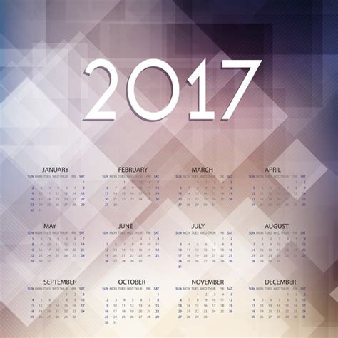 Calendar Background 2017 Calendar On Geometric Background Vector Free