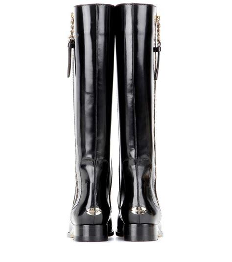jimmy choo balan flat black shiny leather flat knee high boots
