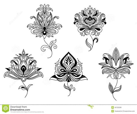 elegant persian paisley floral elements stock vector