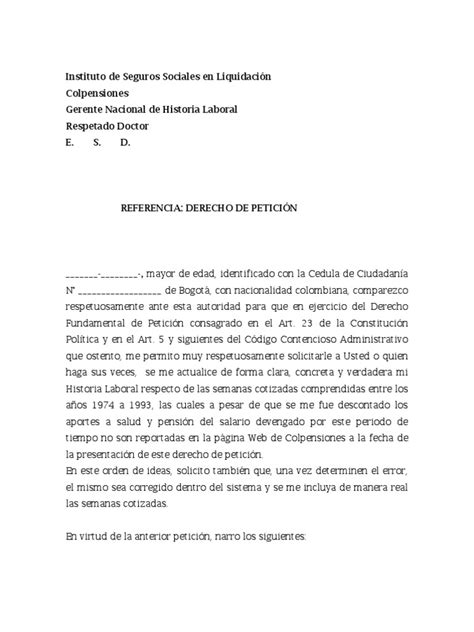 formato solicitud a una autoridad administrativa gratis derecho de peticion a colpensiones