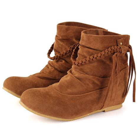 flat shoe boots uk uk 2016 new flat suede tassels ankle boots fringes