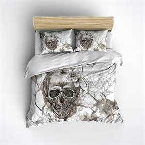 fleece skull bedding vintage look skull and flower by