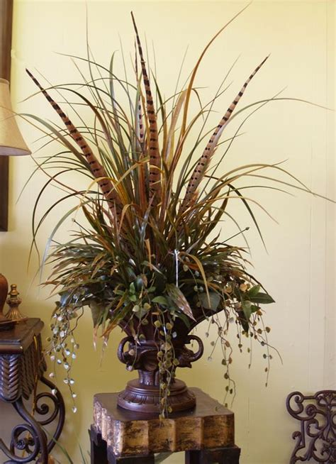 my flower arrangement ideas grasses pheasant feathers