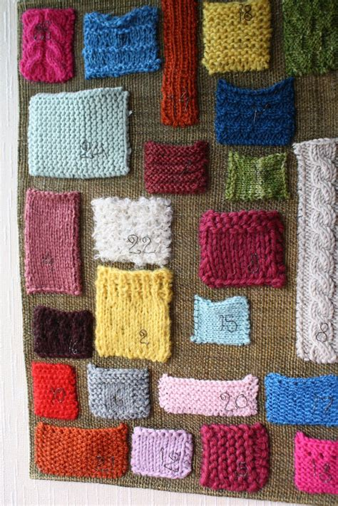 advent yarn advent calendar with knit swatches great idea