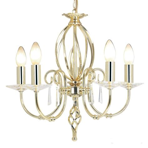 Chandelier In Polished Brass With Cut Glass Droplets Chandelier Droplets