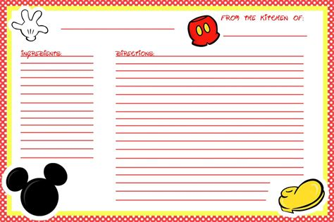 Printable Disney Recipe Cards | animating the princesses free printable mickey recipe