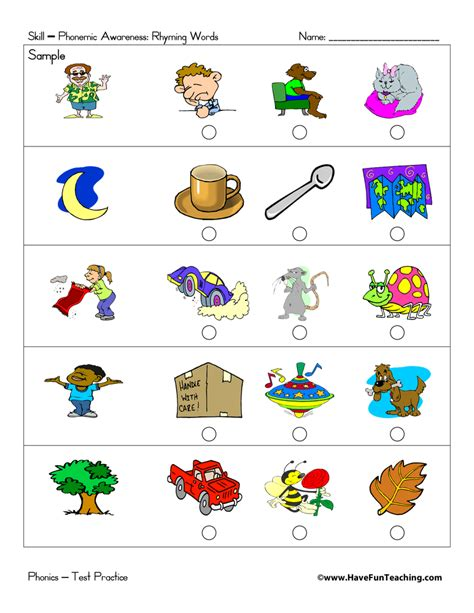 Rhyming Worksheets For Kindergarten by Preschool Test Practice Teaching