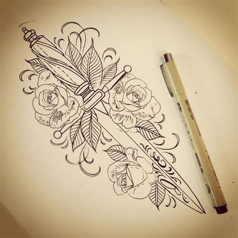 dagger and rose drawing from my tattoo yesterday at