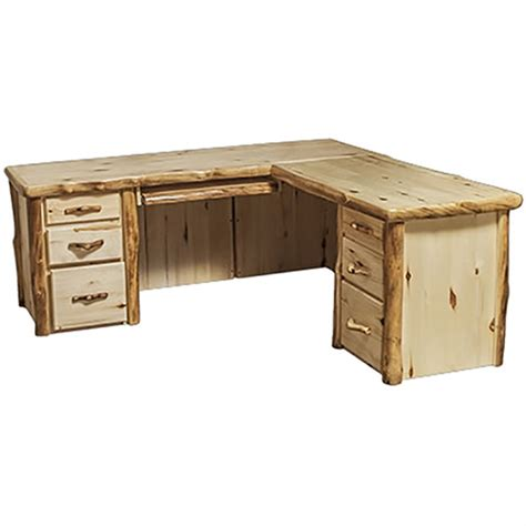 Light Desk L by Light Aspen Flat Front L Shaped Desk Rustic Log