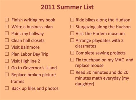 summer list of non accomplishments nyc single