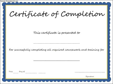 certificate of completion template sle templates