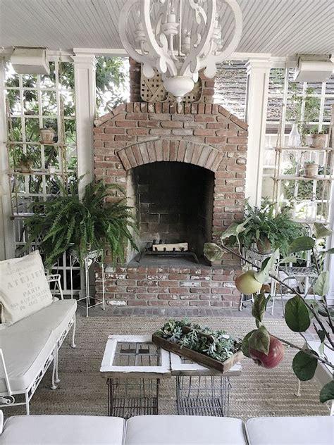 farmhouse  porch brick fireplace  white  flea