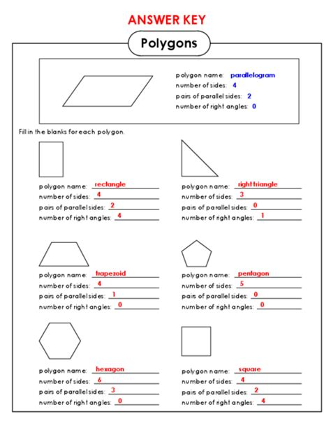 polygons and angles worksheet answers math worksheets 187 math worksheets for 4th grade polygons preschool and kindergarten worksheets