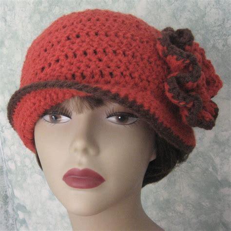 pattern crochet hat with flower crochet pattern womens flapper hat epattern with double flower