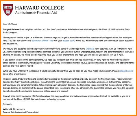 Harvard Mba Acceptance Requirements by Harvard Acceptance Letter Cover Letter Exle
