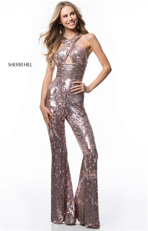 sherri hill  long sequined jumpsuit prom dress