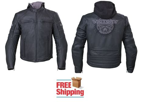 Hoodie The Combinations victory magnum motorcycle leather jacket hoodie combo shoulder armor ebay