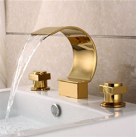 bathroom sink faucet gold gold plated brass three sets of bathroom sink waterfall