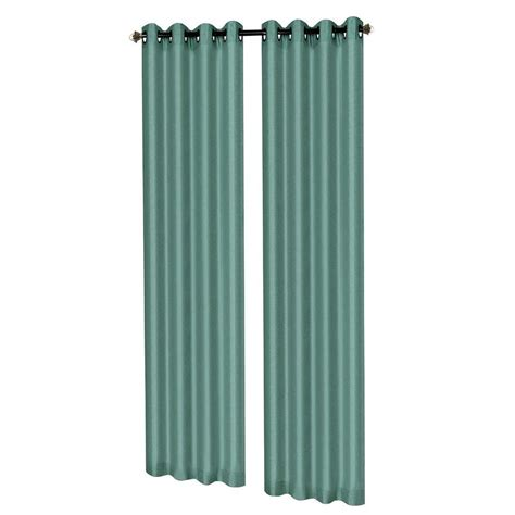 Teal Grommet Curtains Window Elements Raphael Heathered Faux Linen Wide 96 In L Grommet Curtain Panel Pair