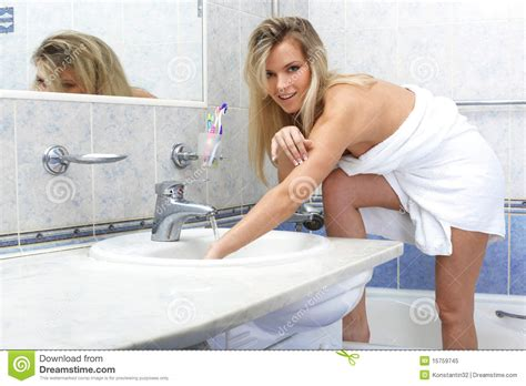women in bathroom royalty free stock photo woman with towel in bathroom image 15759745