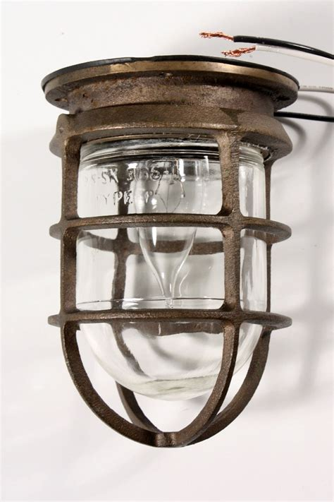 Cage Lighting Fixtures Antique Industrial Cast Bronze Cage Light Fixture For Wall Or Ceiling Signed Oceanic Nc1030 For