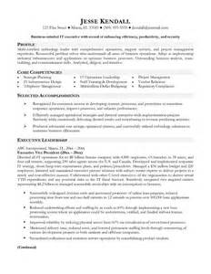 vp of information technology resume sle executive