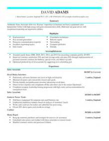 it cv template uk sales associate cv exle for sales livecareer