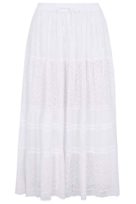 white crinkle cotton tiered maxi skirt with broderie