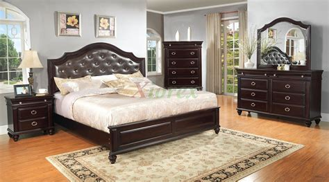 Platform Bedroom Furniture Set With Leather Headboard 146