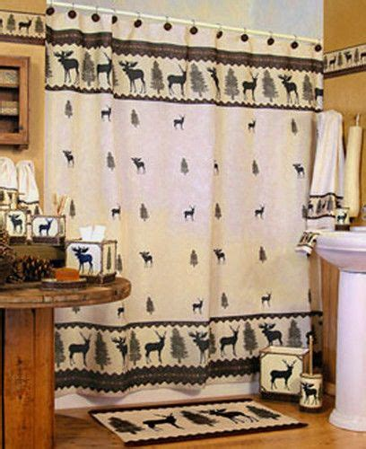 moose bathroom set woodlands fabric bathroom shower curtain deer moose lodge