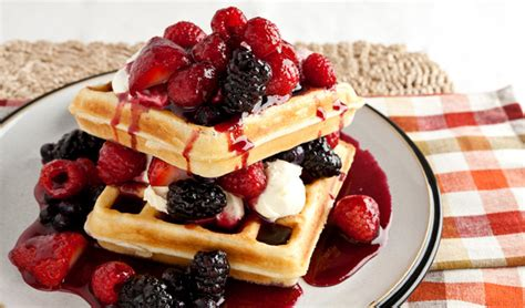 Kitchen Island Montreal Waffles With Berry And Mascarpone Topping In The Kitchen