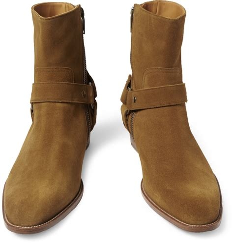 suede boots lyst laurent suede boots in brown for