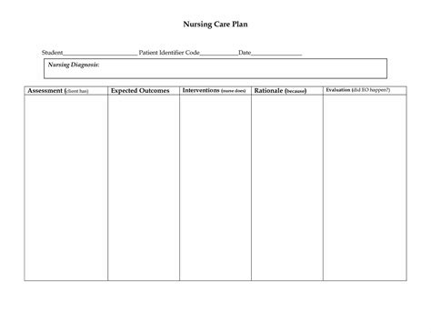 Nursing Care Plan Template Free free nursing care plan templates beepmunk