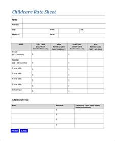 rate sheet template rate sheet template 10 free sle exle format