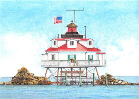 Lighthouse House Plans Thomas Point Lighthouse Drawing By David Gallagher
