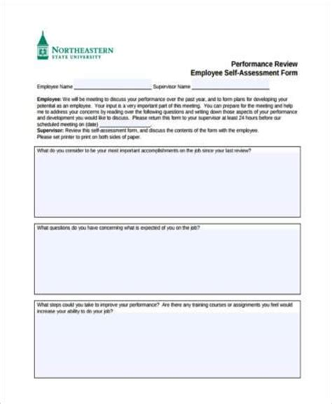 employee self evaluation form template sle employee self assessment forms 7 free documents