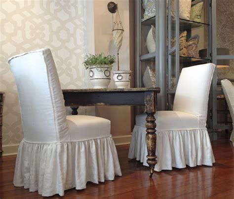quatrine houston farmhouse dining table  parsons dining chairs   full ruffle skirt   showrooms pinterest dining chairs
