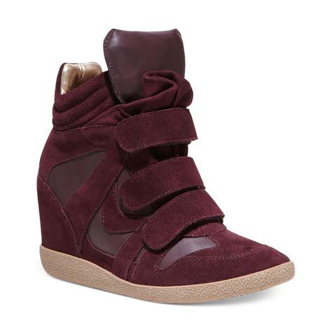 burgundy sneaker wedges steve madden hilight wedge sneakers in purple burgundy