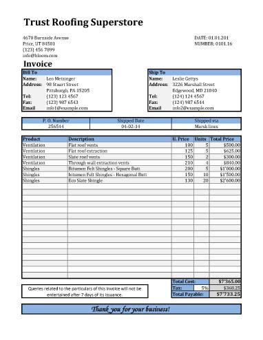 roofing invoice template with shipping details invoice