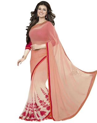 Ytk Blouse 3219 Jumbo buy pink printed georgette saree with blouse