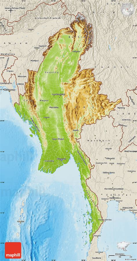 myanmar physical map physical map of burma shaded relief outside