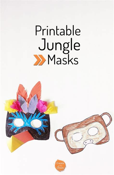 printable jungle animal masks jungle animals creative and pretend play on pinterest
