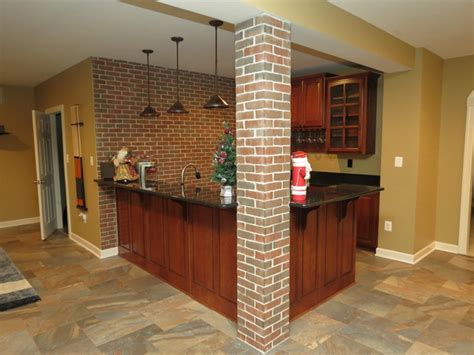 Rustic Cabinets Kitchen Basement Remodel With New Bar And Ceramic Tile Floor