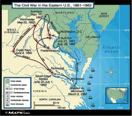 civil war battles in map the civil war in the eastern united states map 1861 1862
