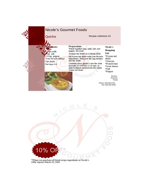 restaurant recipe card template free