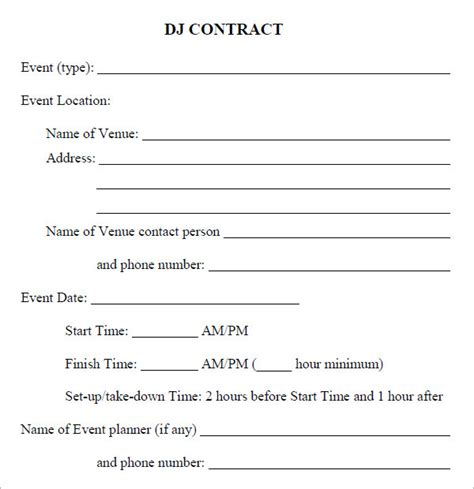 contract forms template dj contract 12 documents in pdf