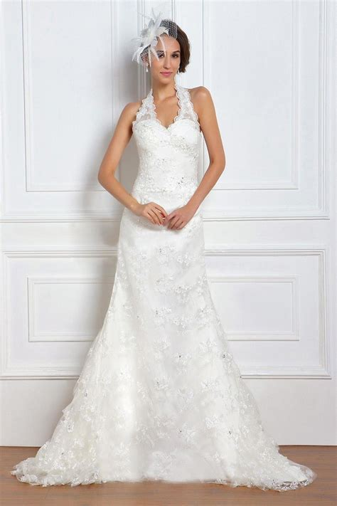 Halter Neck Wedding Dress by Line Halter Neck Sleeveless Lace Wedding Dresses